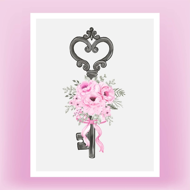 Clé Isolée Avec Ruban Rose Et Illustration Aquarelle De Roses Vecteur gratuit