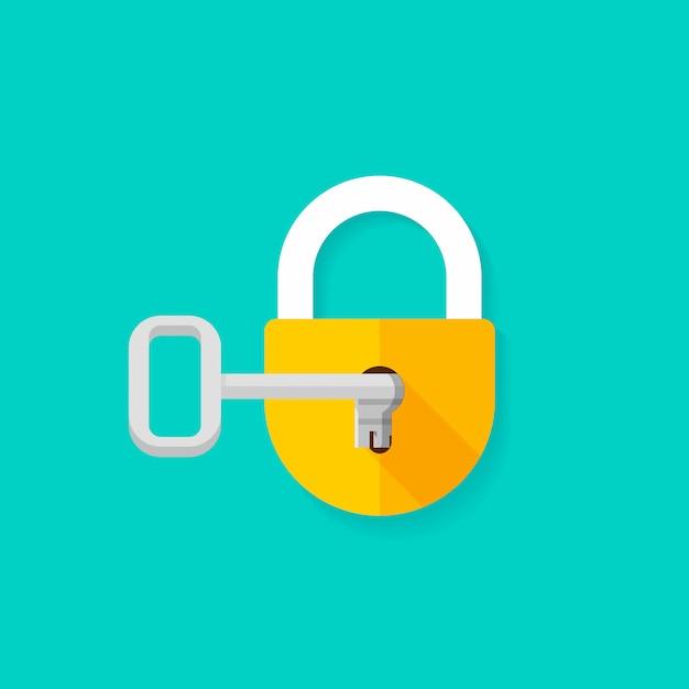 Clé en serrure ouverture cadenas plat Vecteur Premium