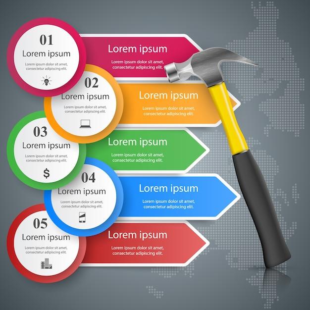 Clé, tournevis, icône de réparation business infographic Vecteur Premium