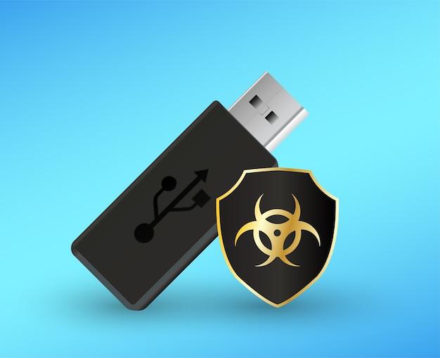 Clé Usb Flashdrive Avec Un Ordinateur Antivirus Bouclier De Protection Vecteur Premium