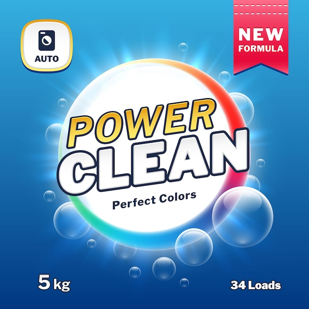 Clean power - emballages de savon et de détergent à lessive. illustration vectorielle de poudre à laver produit étiquette poudre de puissance d'emballage Vecteur Premium