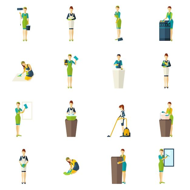 Cleaners color flat icons set Vecteur gratuit
