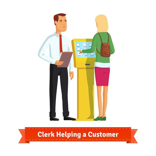 Clerk aide femme au kiosque d'information Vecteur gratuit