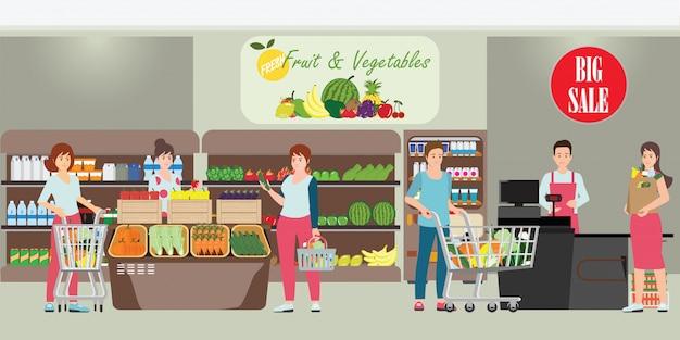 Client et caissier en supermarché Vecteur Premium