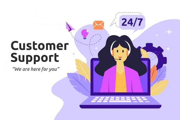 Client et opérateur, concept de support technique en ligne Vecteur Premium
