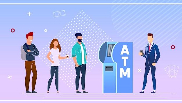 Clients bancaires utilisant un distributeur de billets Vecteur Premium