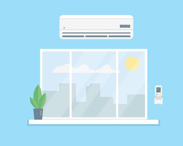 Climatiseur Au-dessus De La Fenêtre. Vecteur Premium