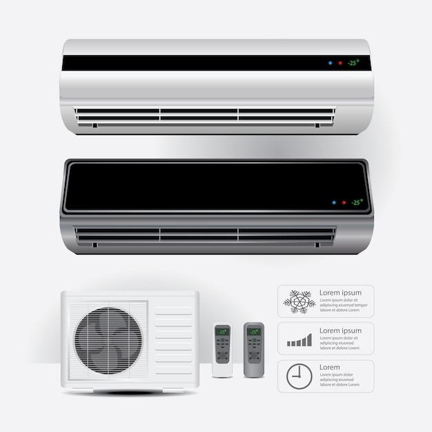 Climatiseur réaliste et télécommande avec symboles vectoriels d'air froid illustration vectorielle Vecteur Premium