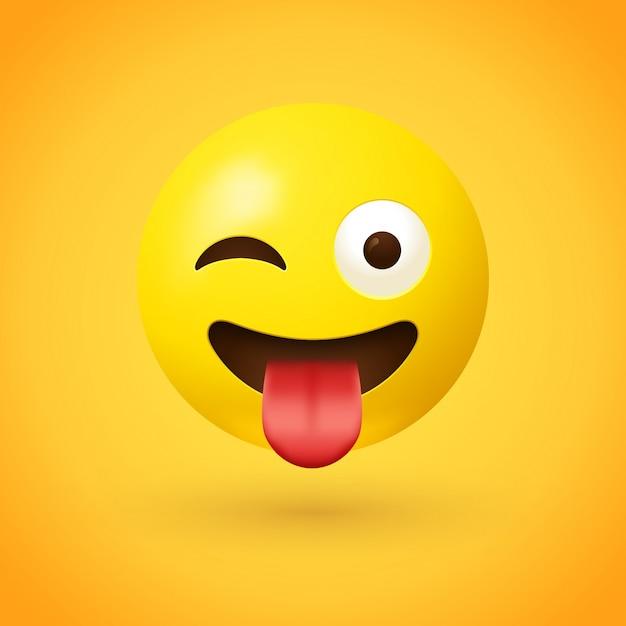 Clin d'oeil avec emoji langue Vecteur Premium