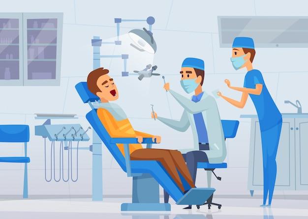 Clinique De Stomatologie. Trucs Médicaux Dentistes Spécialistes Travaillant Dans Le Cabinet De Diagnostic Concept De Soins De Santé Illustrations De Dessin Animé Vecteur Premium