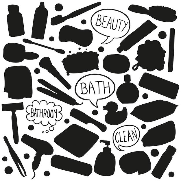 Clipart de beauté silhouette de bain Vecteur Premium