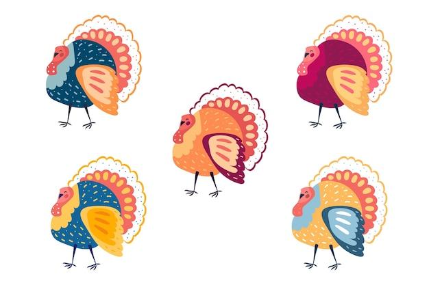Clipart Drole De Dindes Colorees Elements De Thanksgiving Vecteur Premium