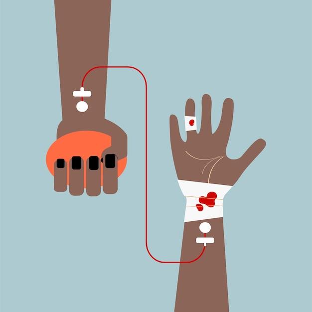 Clipart d'illustration vectorielle de transfusion sanguine Vecteur gratuit