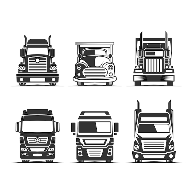 Clipart De Silhouette Vecteur Logistique Camion. Parfait Pour L'industrie De La Livraison Ou Du Transport Vecteur Premium