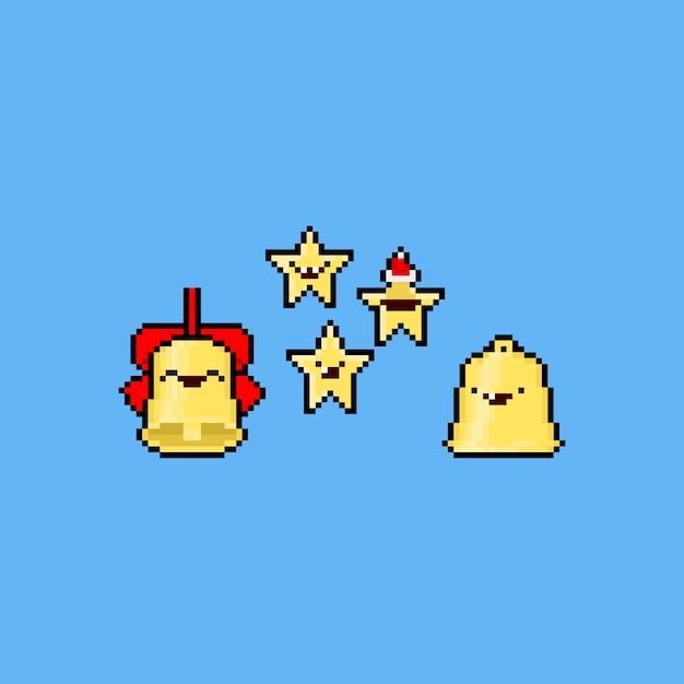 Cloche De Noël Et étoiles De Dessin Animé De Pixel Art