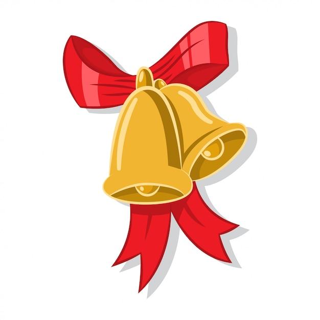 Clochettes de noël en or avec un arc rouge. Vecteur Premium