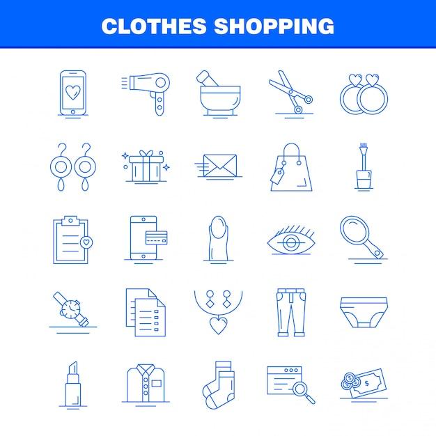 Clothes Shopping Line Icon Set Vecteur Premium