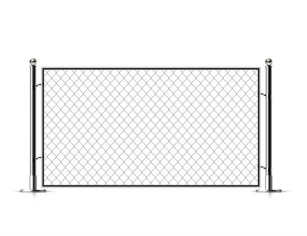 Clôture de chaîne en métal réaliste. Vecteur Premium