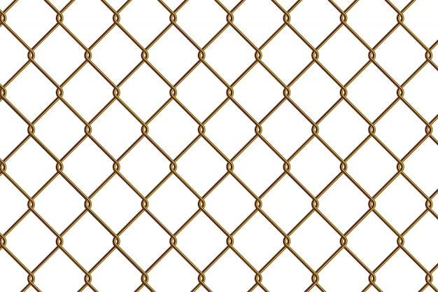 Clôture à mailles en or Vecteur Premium