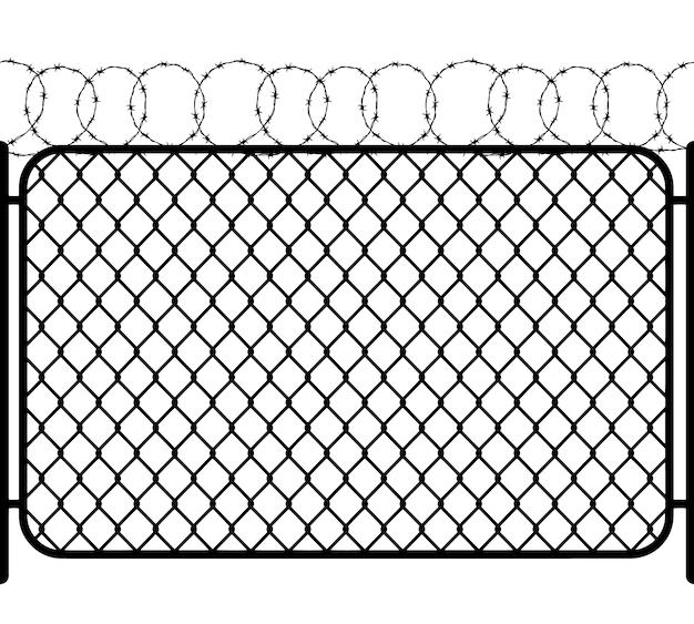 Clôture De Maillon De Chaîne Avec Fil De Fer Barbelé, Silhouette Transparente Noire Sur Blanc Vecteur Premium