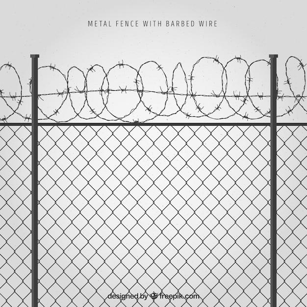 Clôture en métal avec fil de fer barbelé sur fond gris Vecteur gratuit