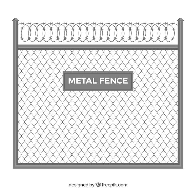 Clôture en métal avec fil de fer barbelé Vecteur gratuit