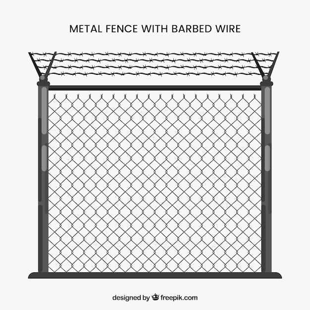 Clôture en métal gris avec fil de fer barbelé Vecteur gratuit