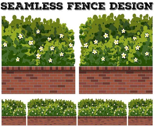 Clôture sans couture avec buisson et fleurs Vecteur gratuit