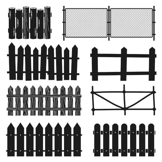 Clôtures en bois rurales, silhouettes de piquetage vectoriels Vecteur Premium