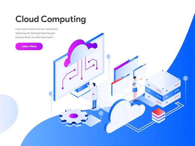 Cloud computing isometric pour site web Vecteur Premium