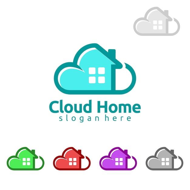 Cloud home real estate logo design Vecteur Premium