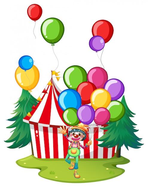 Clown de cirque avec ballons colorés Vecteur Premium
