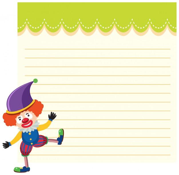 Clown de cirque sur modèle de note Vecteur Premium