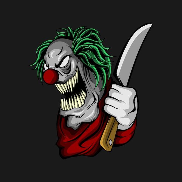 Clown avec un couteau Vecteur Premium