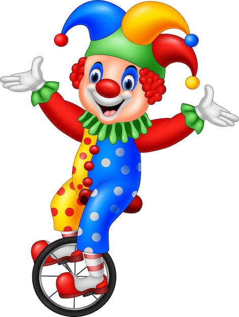 Clown dessin animé, équitation, une, roue, vélo Vecteur Premium