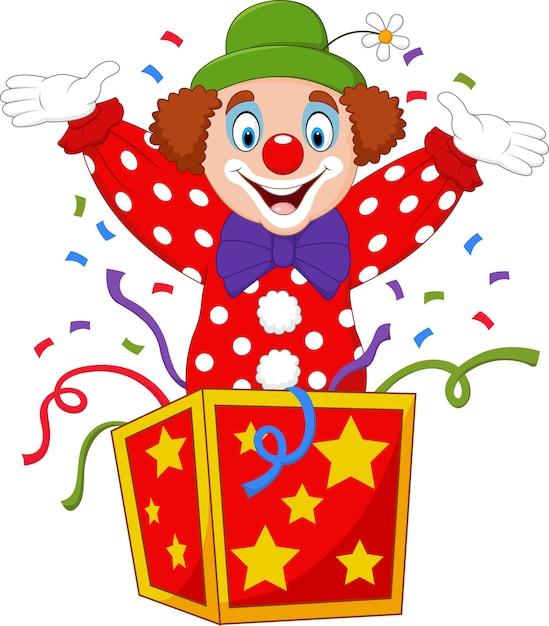 Clown de dessin animé sautant de la boîte Vecteur Premium