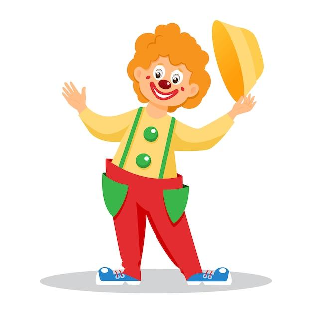 Clown Drôle De Bande Dessinée Avec Un Chapeau. Isolé Vecteur Premium