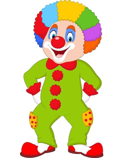 Clown drôle isolé sur blanc Vecteur Premium