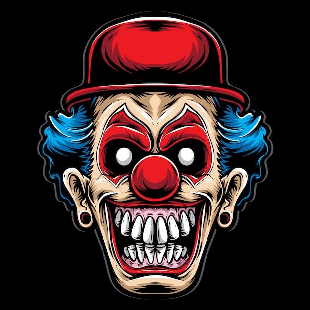 Clown effrayant avec un chapeau rouge Vecteur Premium