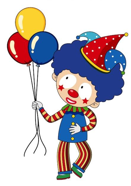 Clown joyeux avec des ballons colorés Vecteur gratuit