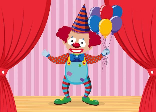 Un clown sur scène Vecteur Premium