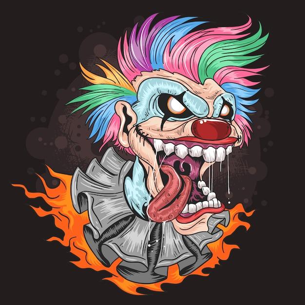 Clown unicorn cheveux pleins couleurs avec des oeuvres de sourire Vecteur Premium