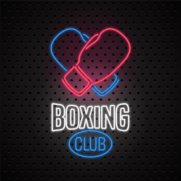 Club De Boxe Avec Enseigne Au Néon Vecteur Premium