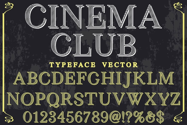 Club de cinema design etiquette retro Vecteur Premium