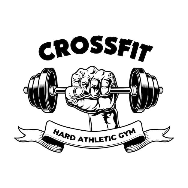 Club De Fitness Athlétique Dur. Emblème Vintage De Gym, Bras De Bodybuilder Avec Haltères Vecteur gratuit
