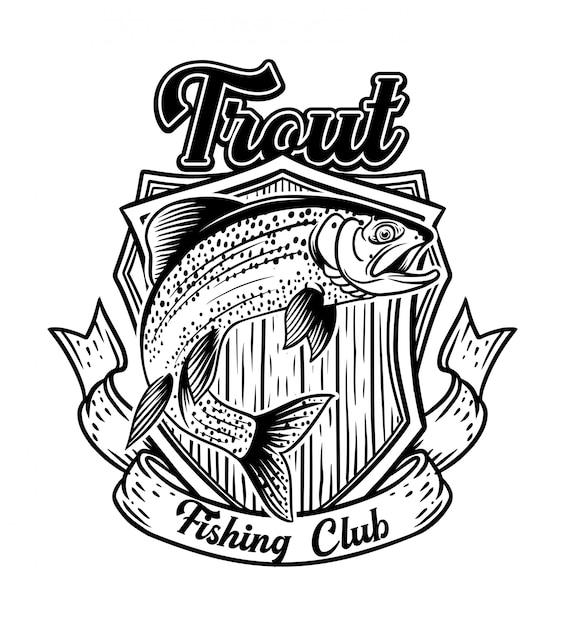 Club De Pêche Saut à La Truite Avec Badge Vintage Vecteur Premium