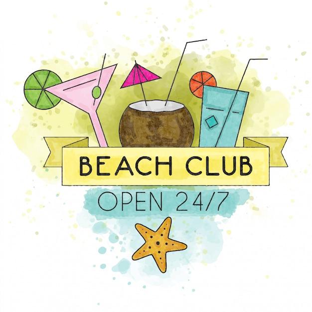 Club de la plage. affiche d'été aquarelle Vecteur Premium