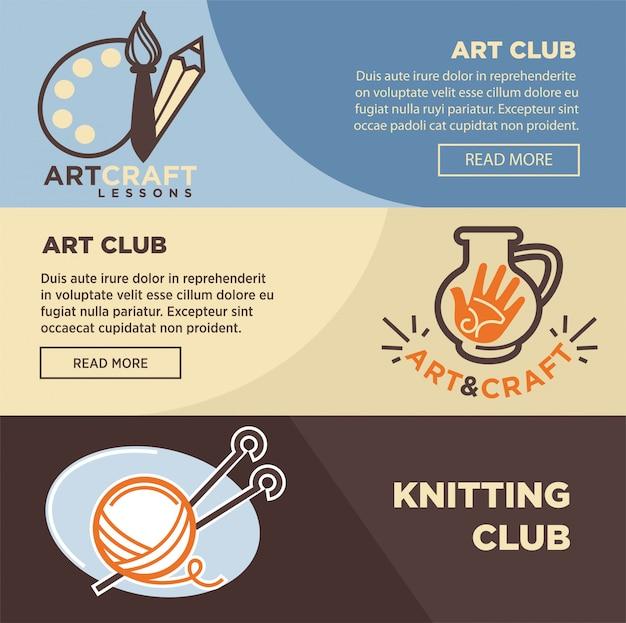 Club de tricotage de poterie et d'artiste peintre Vecteur Premium