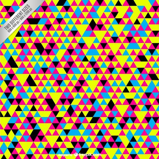Cmjn fond avec de petits triangles colorés Vecteur gratuit