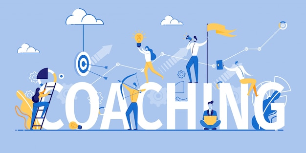 Coaching banner marketing et formation en publicité Vecteur Premium
